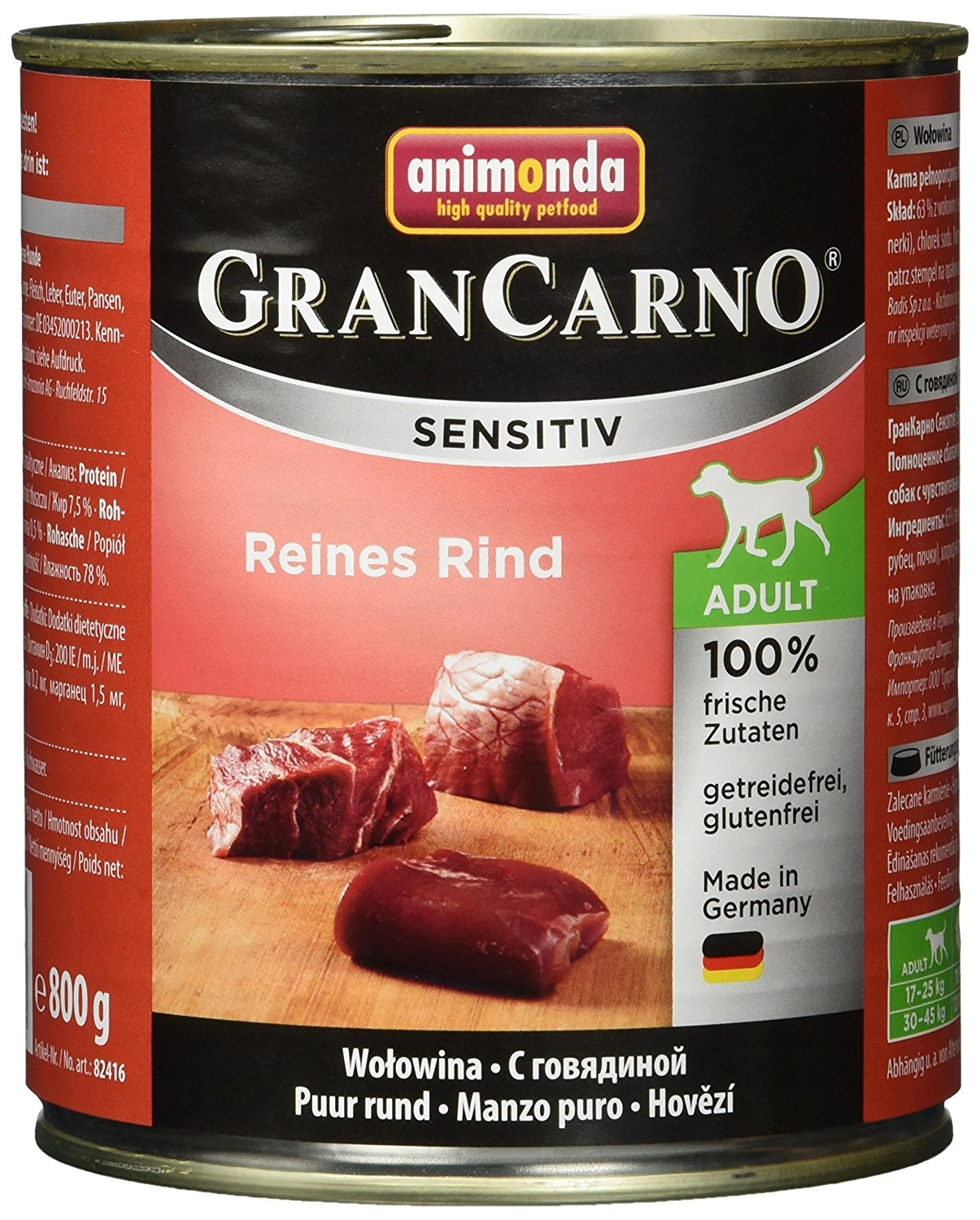 Animonda Gran Carno Hundefutter Sensitive Adult Reines Rind, 6er Pack