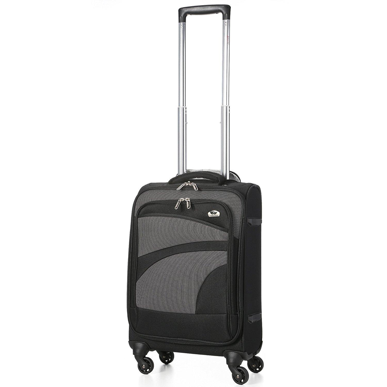 Aerolite Leichtgewicht 4 Rollen Handgepäck Trolley Koffer Bordgepäck Kabinentrolley Reisekoffer Gepäck , Genehmigt für Ryanair , easyJet , Lufthansa , Jet2 und viele mehr , Schwarz/Grau