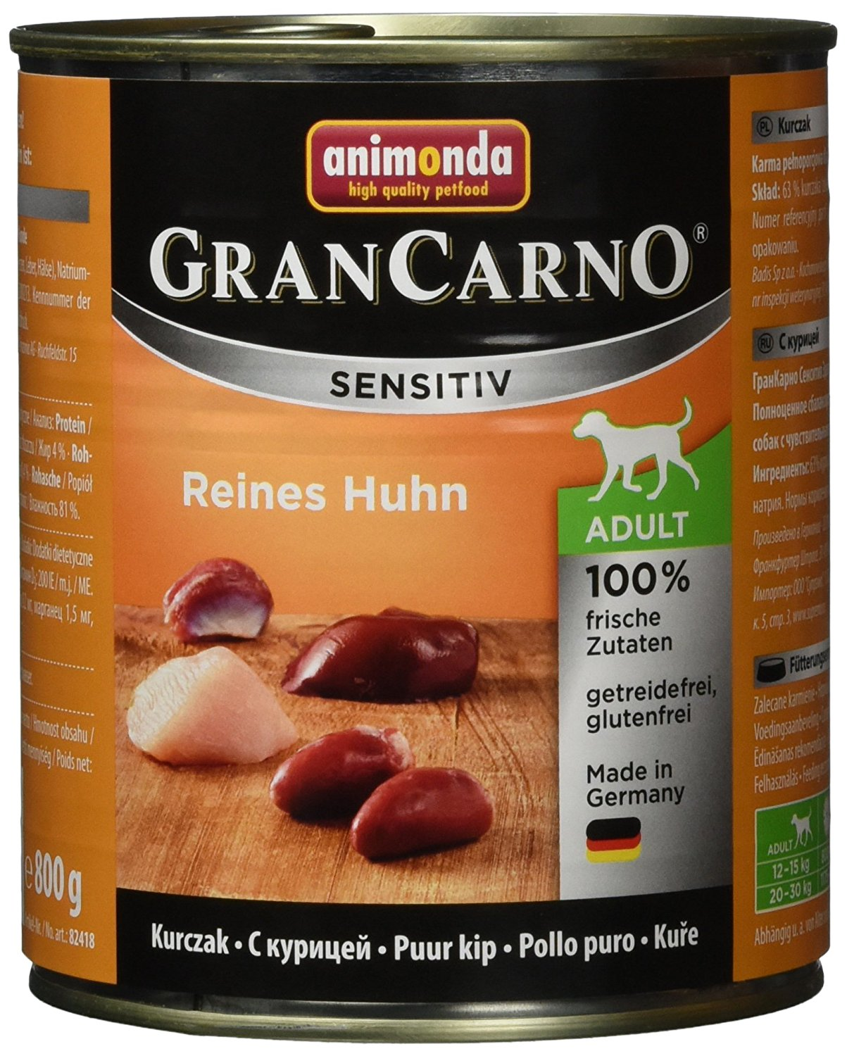 Animonda Gran Carno Hundefutter Sensitive Adult Reines Huhn, 6er Pack