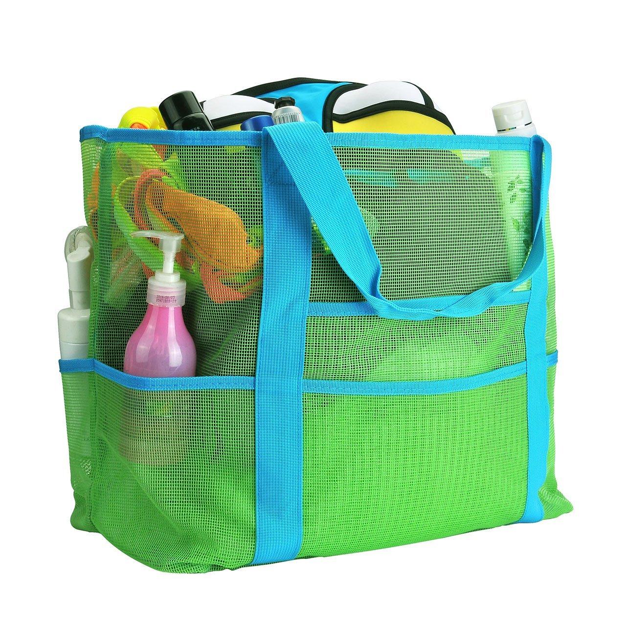 Faleto XXL Netz-Strandtasche Familie Mesh-Strand-Tasche Netztasche für Sandspielzeug, Extra Große Familie Mesh Beach Bag Tote, Blau/Grün (Grün)