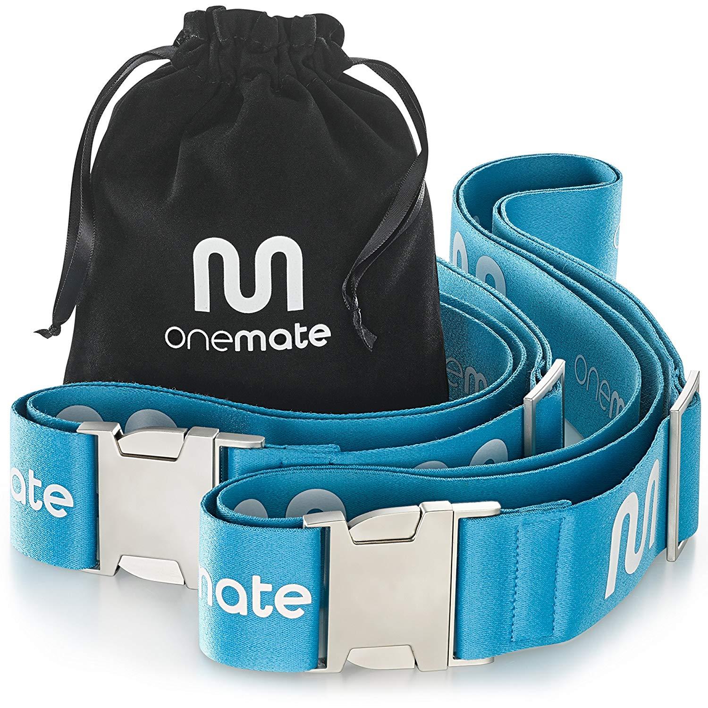 Koffergurt-Set mit Metallschnalle (2 Stück) – Robuster Gepäckgurt für sichere Reisen von OneMate | GRATIS Samtbeutel & Garantie