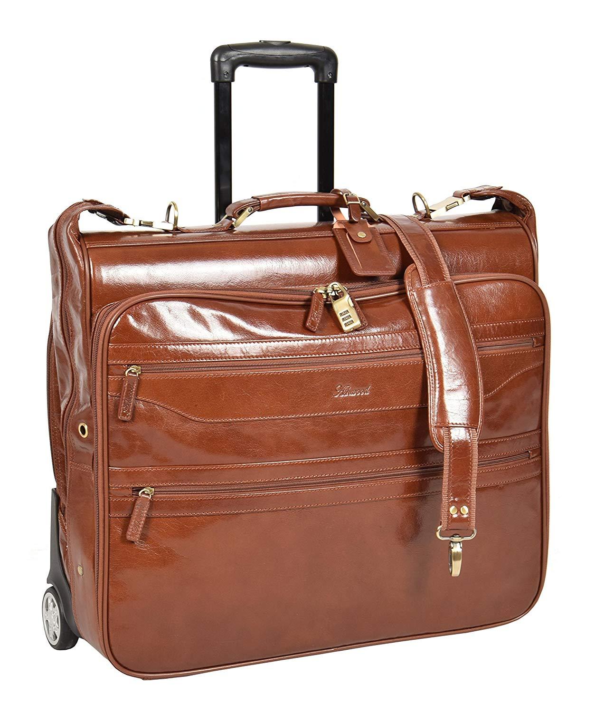 Leder Anzug Träger auf Räder Kleidungsstück Reise Wochenende Suiter Tasche HLG342 Kastanie