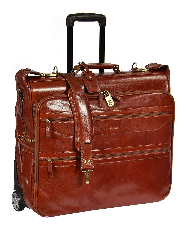 Leder Anzug Träger auf Räder Kleidungsstück Reise Wochenende Suiter Tasche HLG342 Cognac