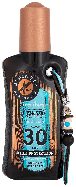 Sonnenöl LSF 30 von BYRON BAY | 200ml Kokos Sonnenöl Spray | Schutz und Bräune in einem | Mit verführerischen Kokos Duftöl | Ideal für Sommer Urlaub