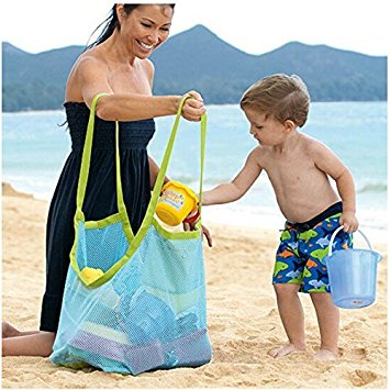 Togather Strand Aufbewahrung Tasche Netz Sandspiel Netztasche für Sandspielzeug, Extra Große Familie Mesh Beach Bag Tote