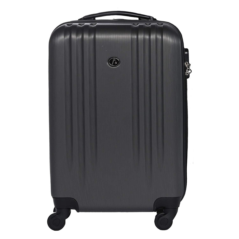 FERGÉ Handgepäck-Koffer leicht Marseille Bordgepäck-Koffer neu | Reisekoffer Kabinentrolley - 4 Rollen (360°) Hartschale grau
