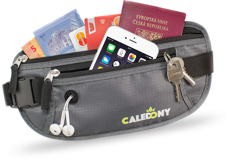 Reise Bauchtasche Hüfttasche mit RFID-Blockierung - Geldgürtel zum Sport, Reisen und Joggen, Verstellbaren Hüftgurt für Damen und Herren - enganliegend und wasserabweisend, CALEDONY Flache Reisegürtel