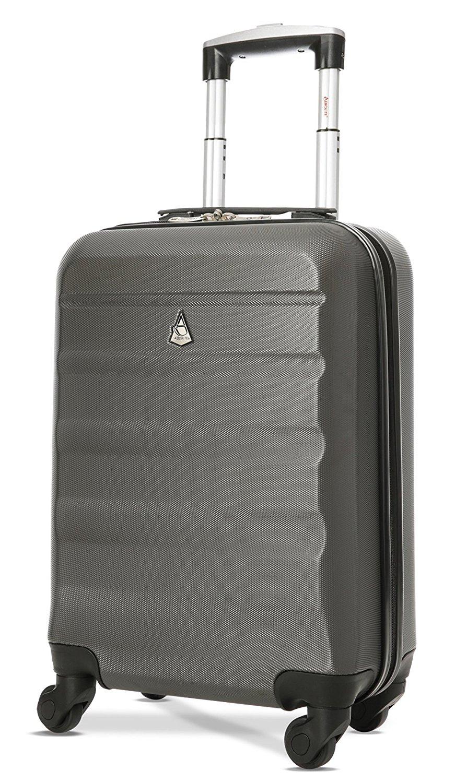 Aerolite Leichtgewicht ABS Hartschale 4 Rollen Handgepäck Trolley Koffer Bordgepäck Kabinentrolley Reisekoffer Gepäck, Genehmigt für Ryanair, easyJet, Lufthansa, Jet2 und viele mehr, Kohlegrau