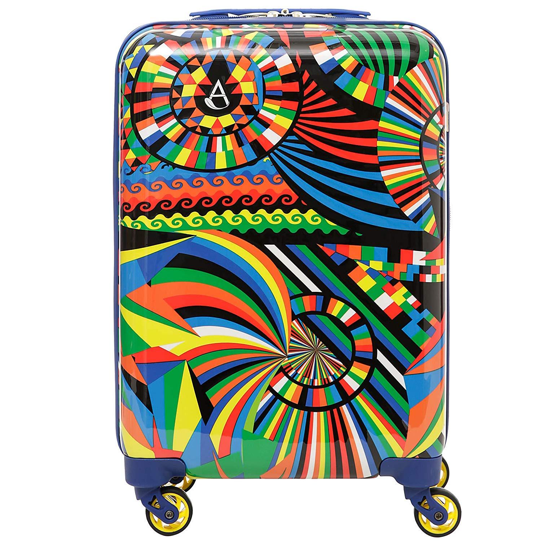 Aerolite Leichtgewicht Polykarbonat Hartschale 4 Rollen Reisegepäck Trolley Koffer Handgepäck Kabinentrolley, Genehmigt für Ryanair, easyJet, Lufthansa, Jet2, Eurowings und viele mehr, Karneval