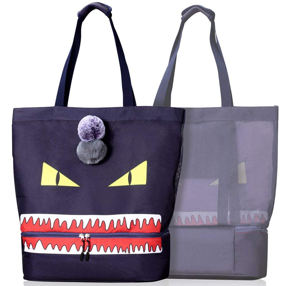 CoolMoMo Strandtasche XXL groß Strandtasche Damen Kühltasche, 2-in-1 Strandtasche mit Kühlfach Isoliert Beach Bag Badetasche Strandtasche Familie