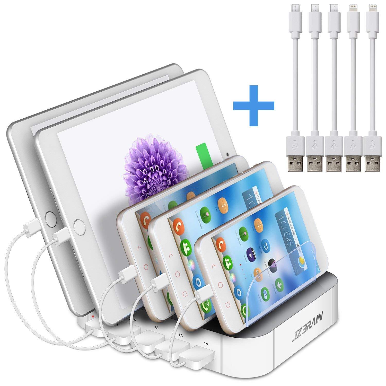 Multi USB Ladestation power house - 5 Ports Universell Ladegerät + Kabel Organizer - Für Handys & Tablet mit dicke Schutzhülle, 5 Kabel im Lieferumfang enthalten (Weiß)