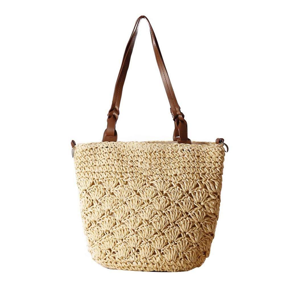 Stroh Hohle Schultertasche Crossbody Handtaschen Gewebte Frauen Mode Weave Einfache Strandtasche