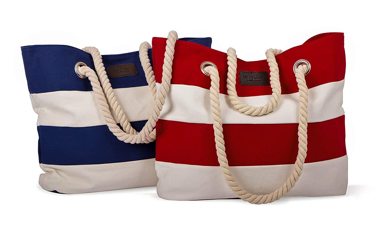 tomBrook | XL Strandtasche/Shopper | maritim gestreift mit Kordel in Tau-Optik | 100% Baumwolle