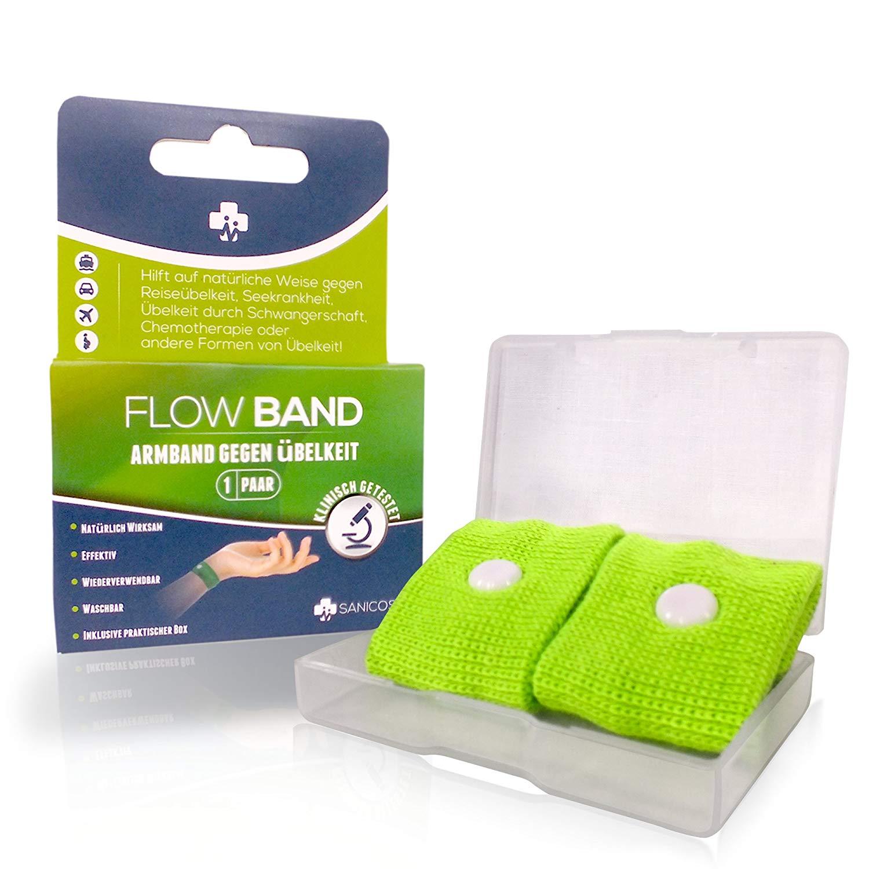 Sanicos Flow Band - Hochwertiges Akupressur Armband – Befreit zuverlässig von Übelkeit – Natürlich wirksam bei Schwangerschaftsübelkeit, Seekrankheit, Reiseübelkeit uvm - inclusive praktischer Box