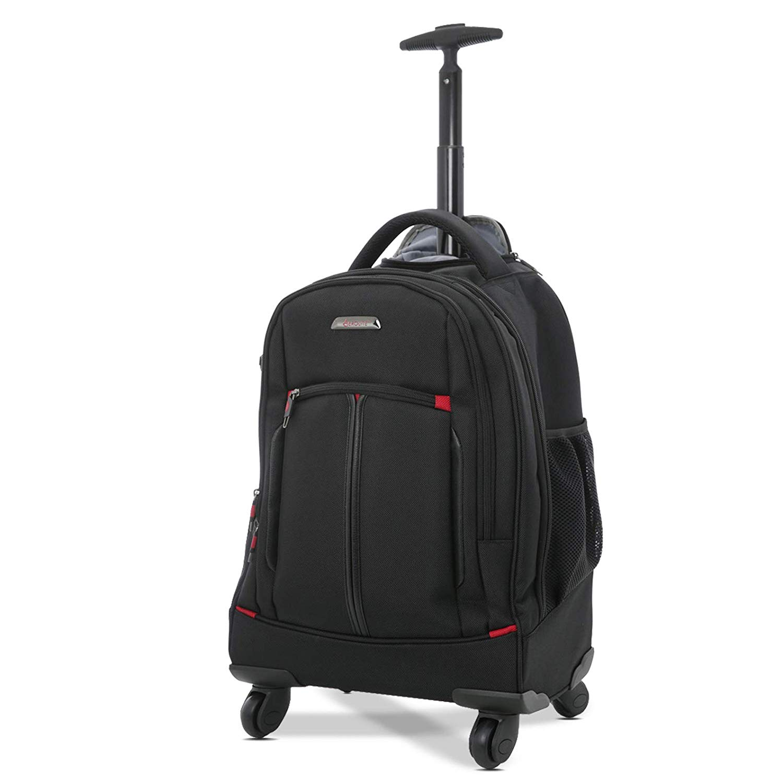 """Aerolite 21"""" 4-Rad Trolley Rucksack Laptop-Tasche Handgepäck Business-Taschen Rucksack Umhängetasche - Zugelassen für Lufthansa, Air Berlin, Ryanair (Schwarz)"""