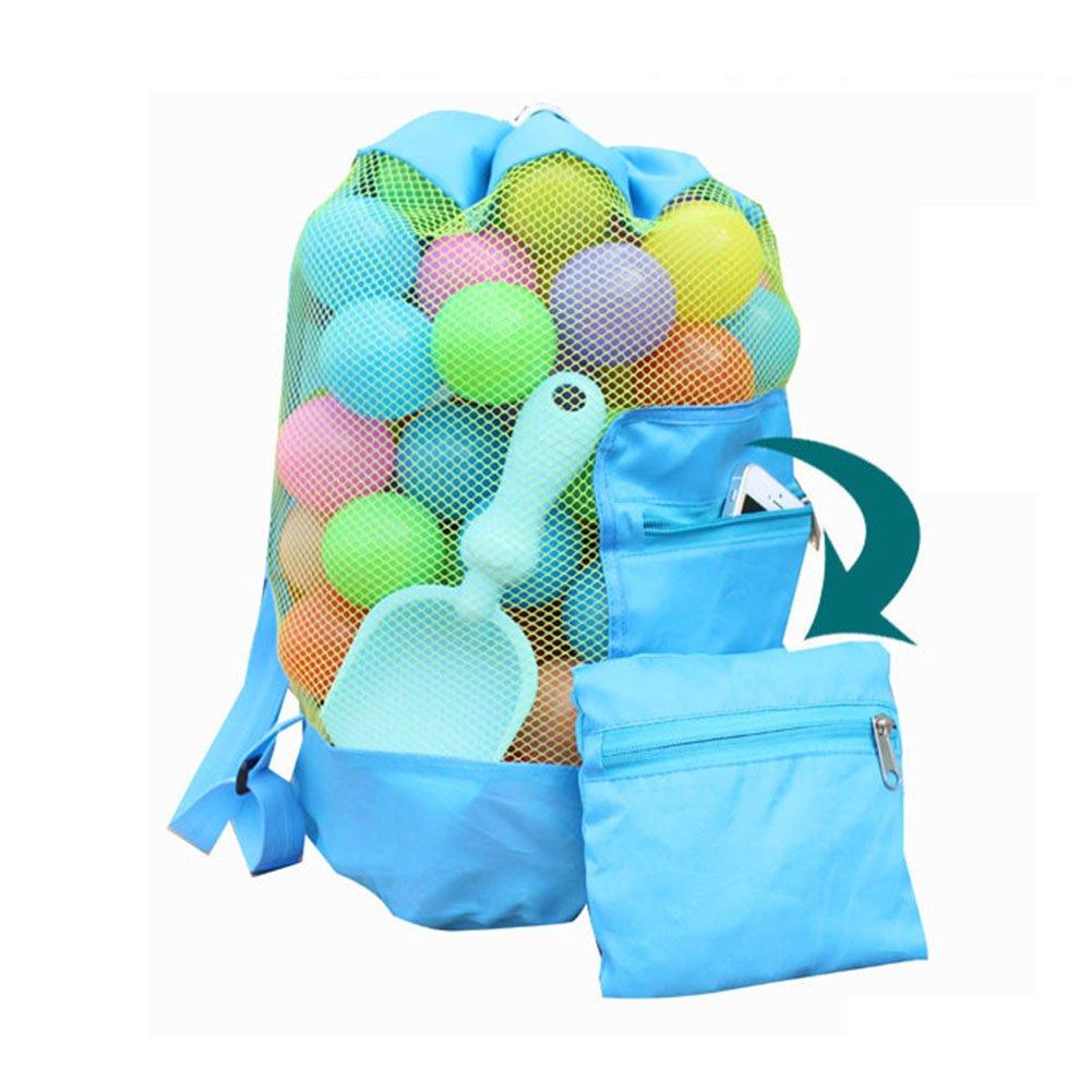Gaeruite Strandspielzeug Tasche Strandtasche Mesh Beach Bag, Sandspielset in Netztasche, Kinder Rucksack Strandtasche Eltern-Kind-Stil Faltbare Aufbewahrungstasche, Spielzeug sind nicht enthalten (Blue)