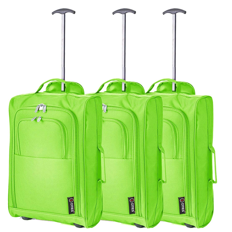 3er Set Handgepäck Gepäck Kabinentrolley Reisetasche Bordgepäck Kabinenzugelassenes 2-Rad-Koffer für Lufthansa/Ryanair / Easyjet (GRÜN)