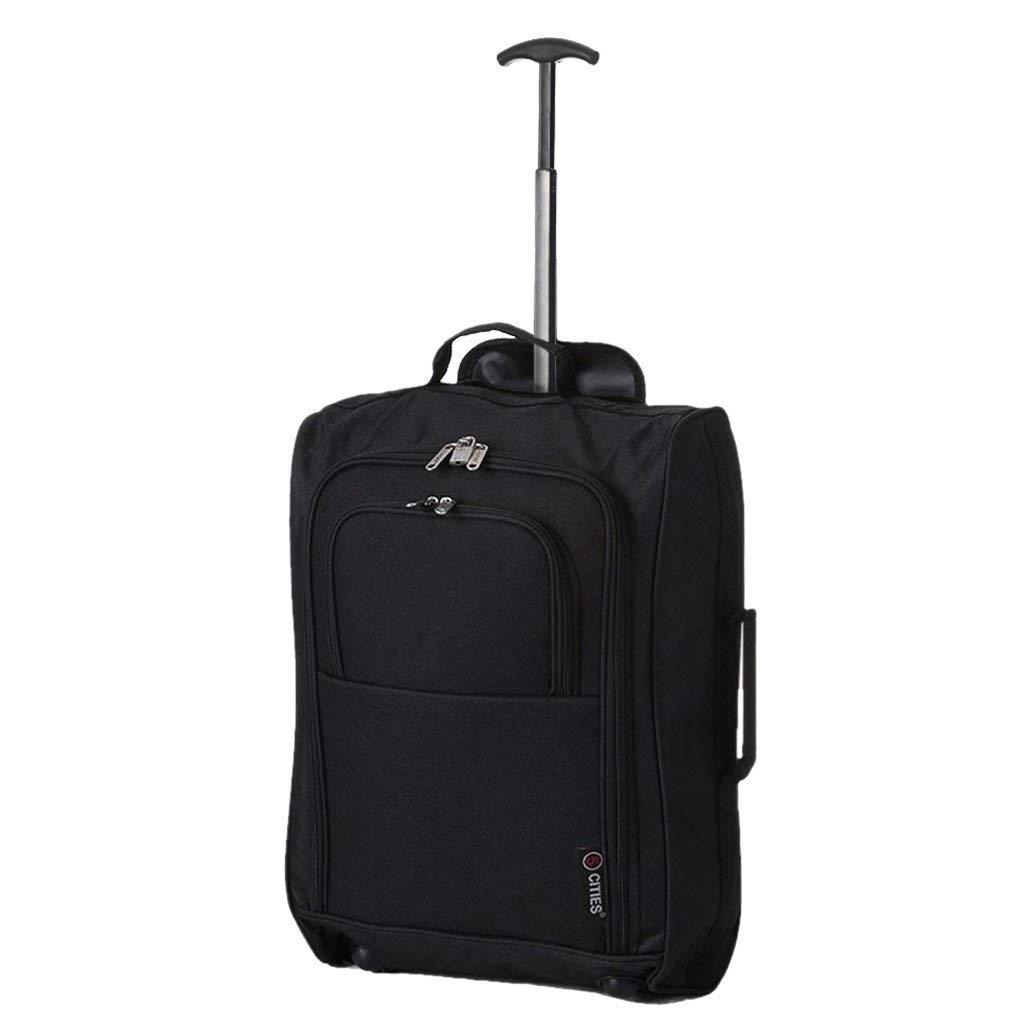5 Cities Leichtgewicht Handgepäck Kabinentrolley Rollkoffer Gepäck Reisetasche Bordgepäck mit Rädern für Easyjet, Ryanair, British Airways, Jet 2 und viele andere Airlines 55x35x20cm 42L (Schwarz)