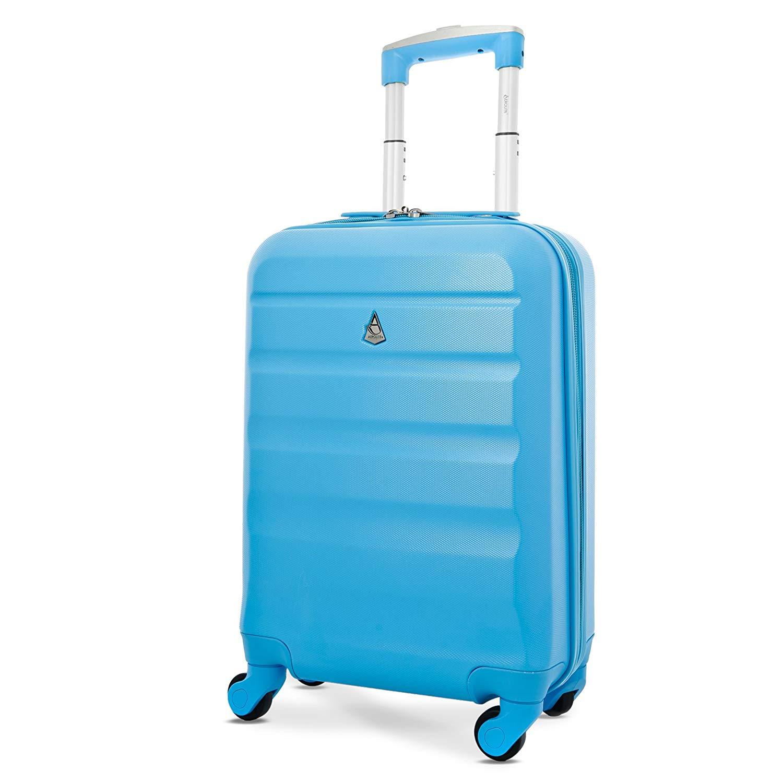 Aerolite Leichtgewicht ABS Hartschale 4 Rollen Handgepäck Trolley Koffer Bordgepäck Kabinentrolley Reisekoffer Gepäck, Genehmigt für Ryanair, easyJet, Lufthansa, Jet2 und Vieles Mehr, Blau