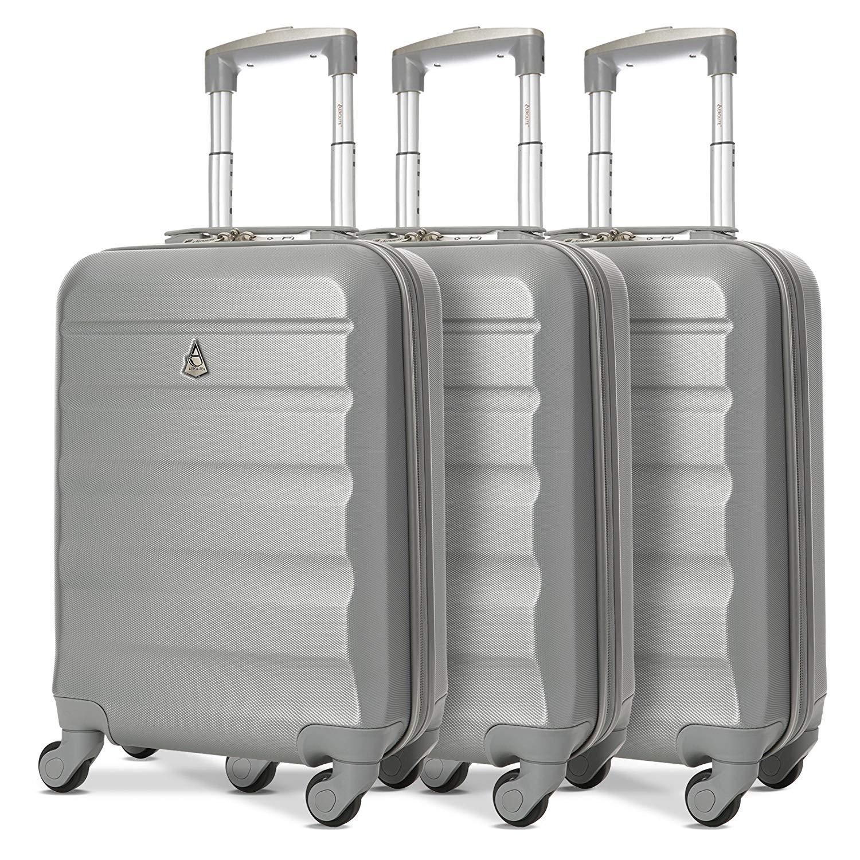 Aerolite Leichtgewicht ABS Hartschale 4 Rollen Handgepäck Trolley Koffer Bordgepäck Kabinentrolley Reisekoffer Gepäck, Genehmigt für Ryanair, easyJet, Lufthansa und viele mehr 3 Teilig Silber