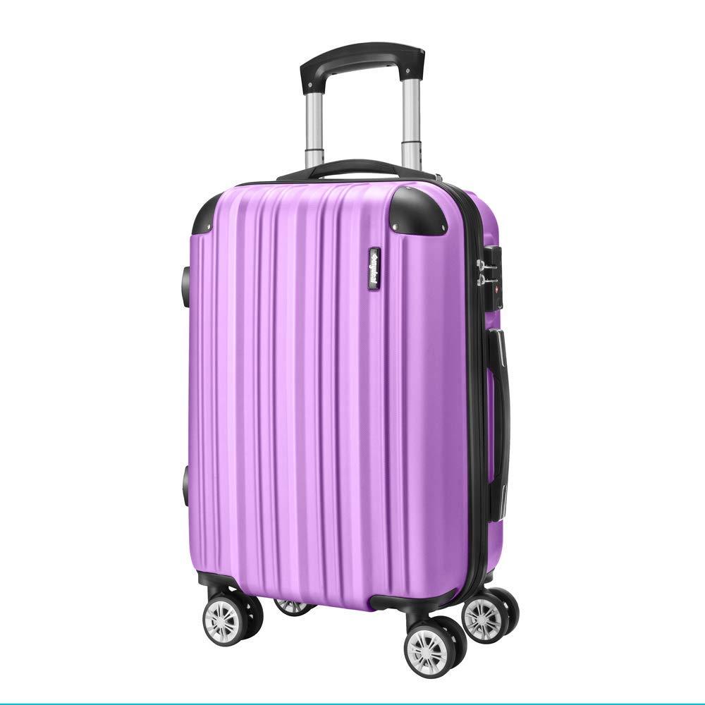 Amasava Hartschale 4 Rollen Handgepäck Trolley Koffer Bordgepäck Kabinentrolley Reisekoffer Gepäck Leichtgewicht ABS, Genehmigt für Ryanair, Easyjet, Lufthansa und Vieles Mehr 55cm/43L Lila