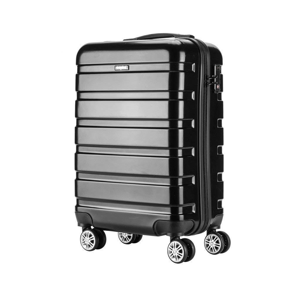 Amasava Hartschale 4 Rollen Handgepäck Trolley Koffer Bordgepäck Kabinentrolley Reisekoffer Gepäck Leichtgewicht ABS+PC, Genehmigt für Ryanair, Easyjet, Lufthansa und Vieles Mehr 55cm/43L Schwarz