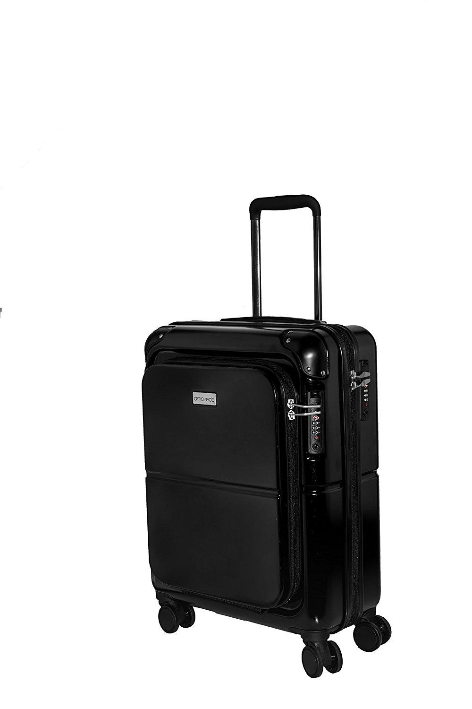 Amoveda Handgepäck Trolley Koffer mit Waage im Griff, Powerbank,TSA, Notebookfach, 4 Rollen, Erweiterbar, 55cm | 100% PC Hartschale | schwarz
