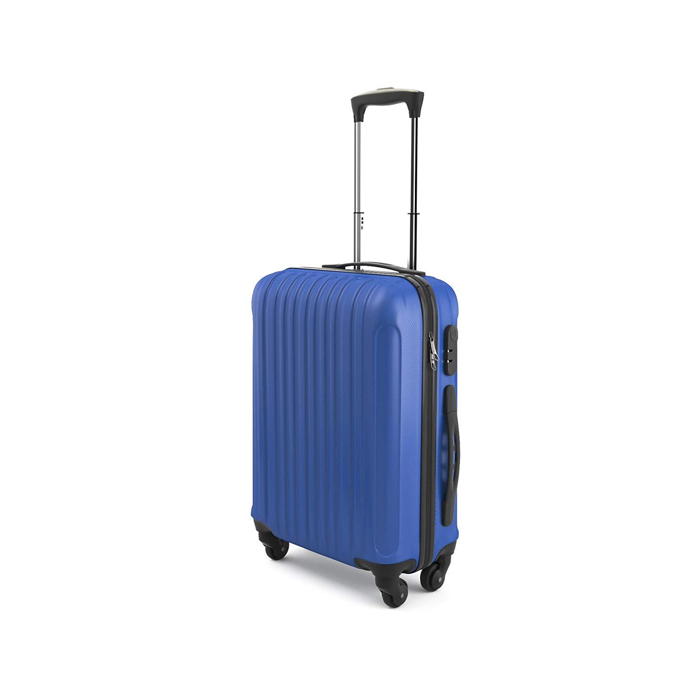 Eglemtek Leichtes ABS Hard Shell 4 Räder Handgepäck Trolley Koffer Gepäck Gepäck Koffer Reise Gepäck Gepäck, genehmigt für Ryanair, Easyjet, Lufthansa, Jet2 und viel mehr, blau