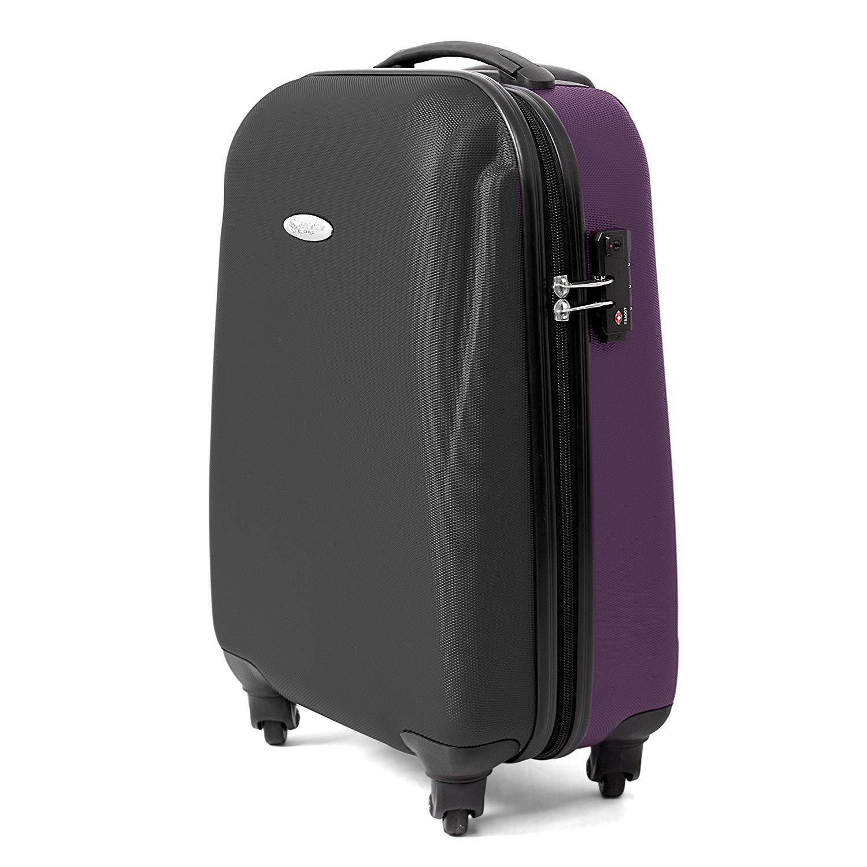 MasterGear Handgepäck Koffer aus ABS mit Reißverschluss in schwarz / violett , 4 Rollen (360 Grad) , Trolley, Reisekoffer, Hartschalenkoffer, TSA Schloss , für zahlreiche Fluggesellschaften geeignet