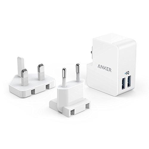 Anker PowerPort 2 Lite (17W) 2 Port USB Reise Ladegerät mit Austauschbarem UK und EU Reiseadapter mit Power IQ für iPhone 8/8 Plus / 7 / 6s, iPad Air/Mini, Samsung Galaxy/Note, LG, usw. (Weiß)