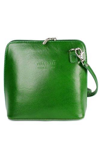 Belli Ital. Ledertasche Damen Umhängetasche Handtasche Schultertasche - 17x16,5x8,5 cm (B x H x T) (Grün)