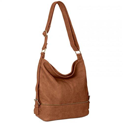 CASPAR TS732 große Damen Umhänge Tasche, Farbe:cognac (goldener Reißverschluss)
