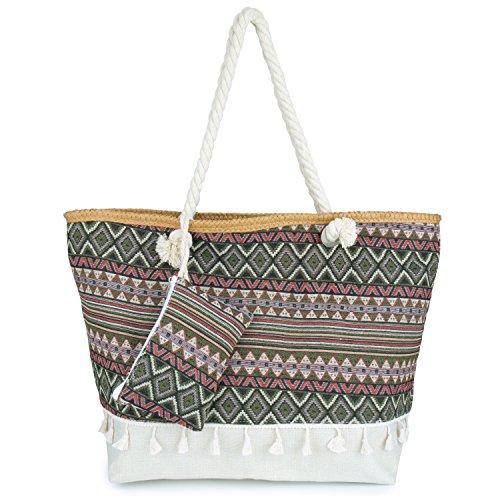 Große Strandtasche aus Baumwolle mit Reissverschluss