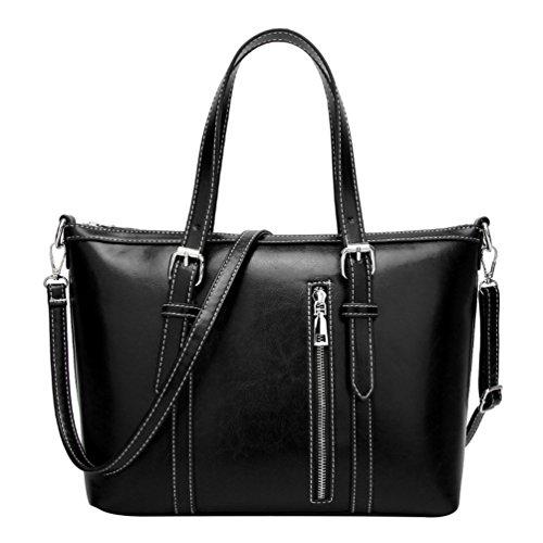 LINNUO Damen Retro Henkeltaschen Tote PU Ledertasche Umhängetasche Große Schultertasche Shopper Crossbody Tasche Handtasche (Schwarz,30*24*13cm)