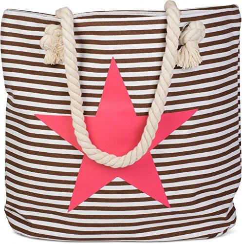 styleBREAKER Strandtasche aus Baumwolle in Streifen