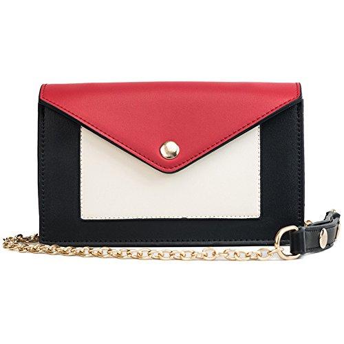 Umschlag Satchel Handtasche Kleine Crossbody Umhängetasche Einfache Schultertasche Kette Tasche für Damen (Rot)