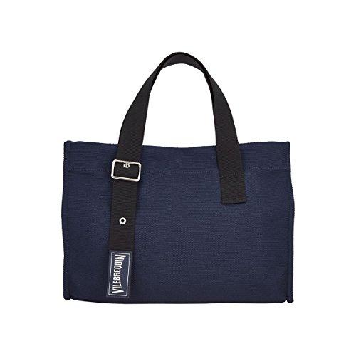 Vilebrequin - Kleine Solid Strandtasche aus Baumwolle- Marineblau
