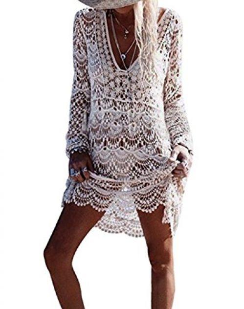 ASSKDAN Damen Boho Weben Einzigartig Bikini Cover Up Sommerkleid Strandkleid Lang - One Size (One Size, Weiß)