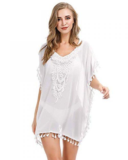 AUDATE Damen Stilvolle Chiffon Tassel Beachwear Bikini Badeanzug Vertuschen Weiß DE 44