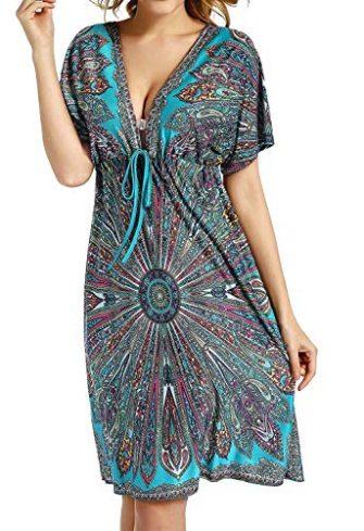 Avacoo Damen Strandkleider V Ausschnitt Blumen Sommerkleid Midi Kleid Pareos Marokko Grün