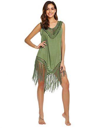 Balancora Damen Strandkleid Strand Tunikas Chiffon Bikini Cover Up Spitze Crochet Bikinikleid...