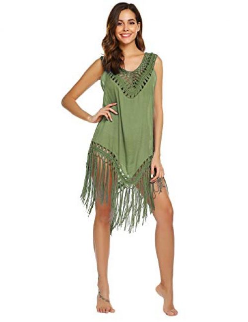 Balancora Damen Strandkleid Strand Tunikas Chiffon Bikini Cover Up Spitze Crochet Bikinikleid mit Grid Spitze