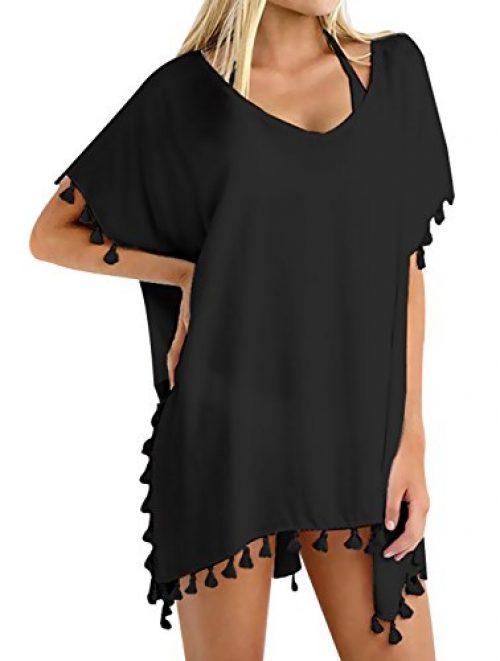 Chalier Damen Strandponcho Bikini Cover Up Quasten Strandkleid Sommer Strandkleider
