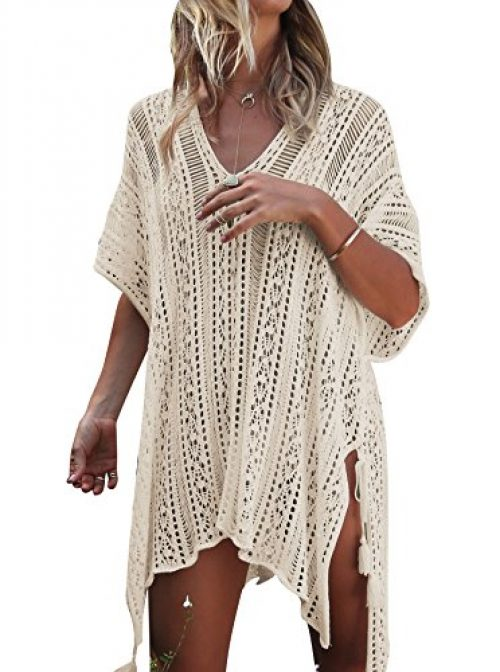 Damen Gestrickte Strandkleid Sommer Strandponcho Strandurlaub Badeanzug Bikini Cover-Ups HAIGOU (One Size, Beige)