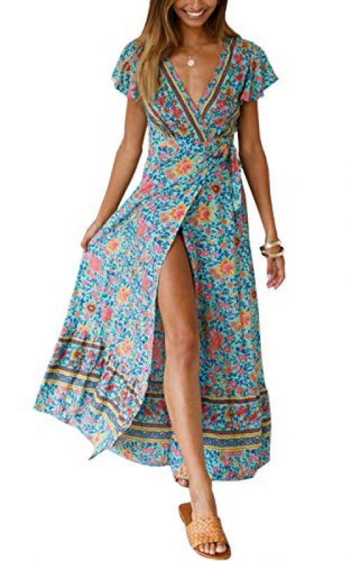 ECOWISH Damen Kleider Boho Sommerkleid V-Ausschnitt Maxikleid Kurzarm Strandkleid Lang mit Schlitz Grün XL