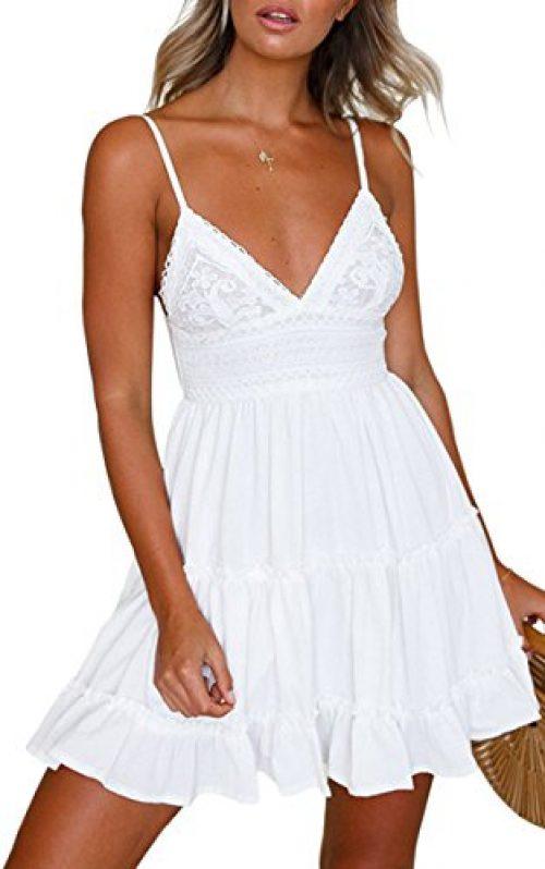 ECOWISH V Ausschnitt Kleid Damen Spitzenkleid Träger Rückenfreies Kleider Sommerkleider Strandkleider Weiß S