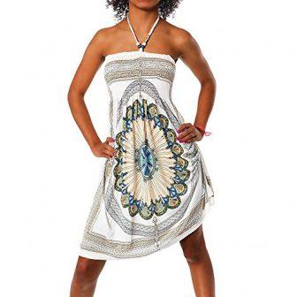H112 Damen Sommer Aztec Bandeau Bunt Tuch Kleid Tuchkleid Strandkleid Neckholder, Strandkleider