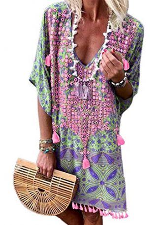 Happy Sailed Damen Kurzarm V-Ausschnitt Retro Bikini Cover Up Strandkleid Bikinikleid Beachwear...