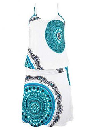 Happy Sailed Damen Ärmellos Druck Strandkleid Minikleid Sommerkleid Tunikakleid Strandtunika Beachwear S-XL,...