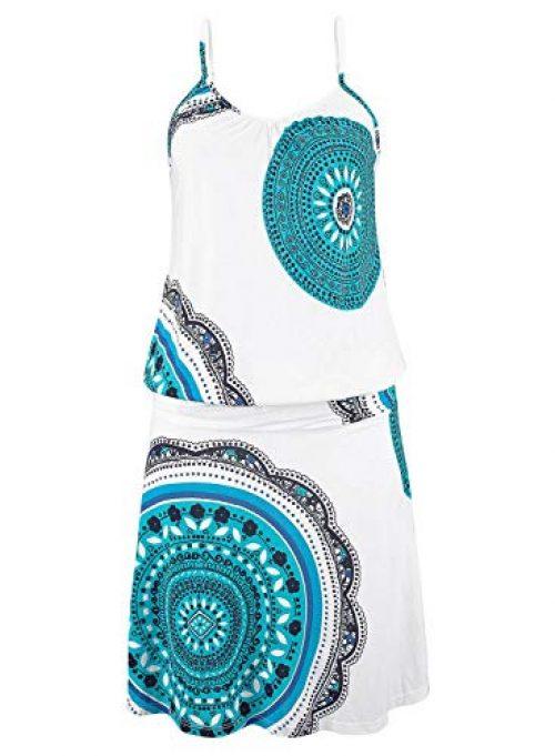 Happy Sailed Damen Ärmellos Druck Strandkleid Minikleid Sommerkleid Tunikakleid Strandtunika Beachwear S-XL, Hellblau, X-Large (EU48-50)